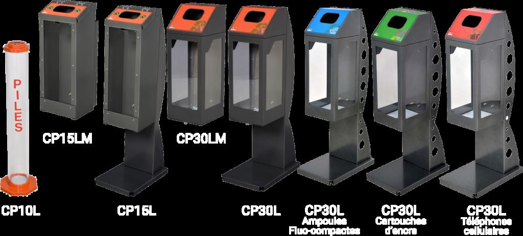Collecteurs de piles ampoules cartouches encre téléphone cellulaires